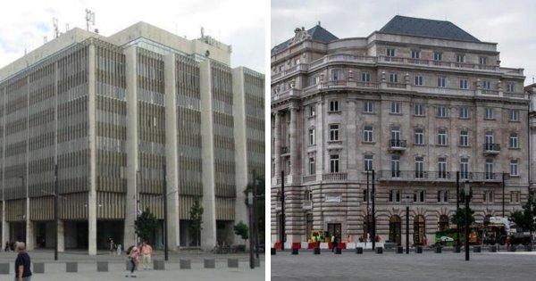 Здание в Будапеште до и после реставрации