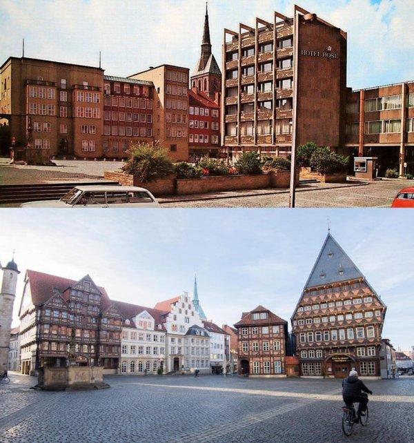 Здания в Хильдесхайме, Германия: до и после