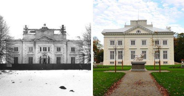 Усадьба XIX века до и после реставрационных работ, Тракай, Литва