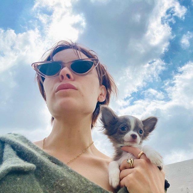 Дочь Брюса Уиллиса и Деми Мур - Таллула в очках с собакой
