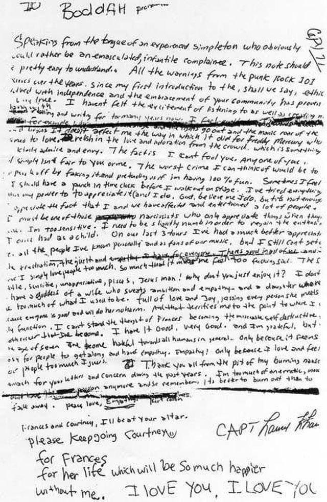 Предсмертная записка Курта Кобейна