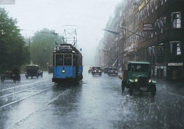 Дождливый день в Стокгольме, Швеция, 1930 год