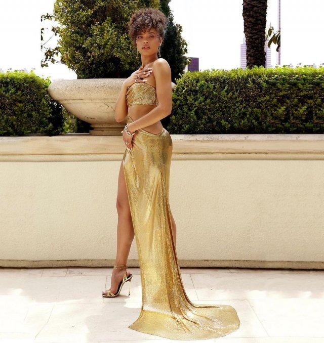Андре Дэй - новая девушка Брэда Питта в золотом платье