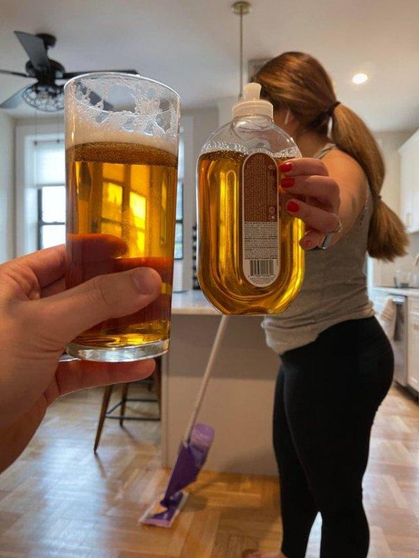 Средство для мытья полов не отличить от пива
