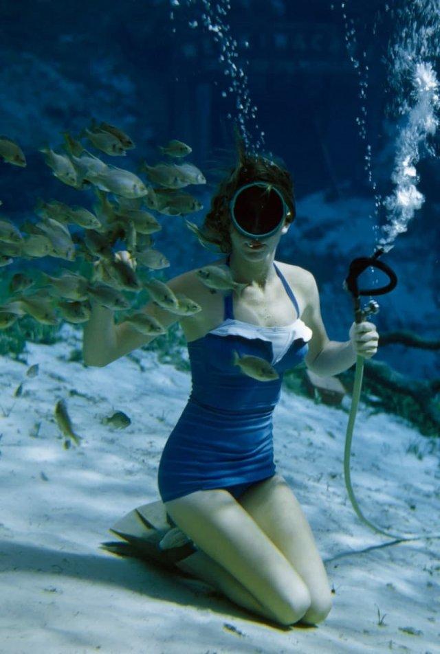 Подводное плавание в Вики-Вачи-Спрингс, Флорида, 1955 год.
