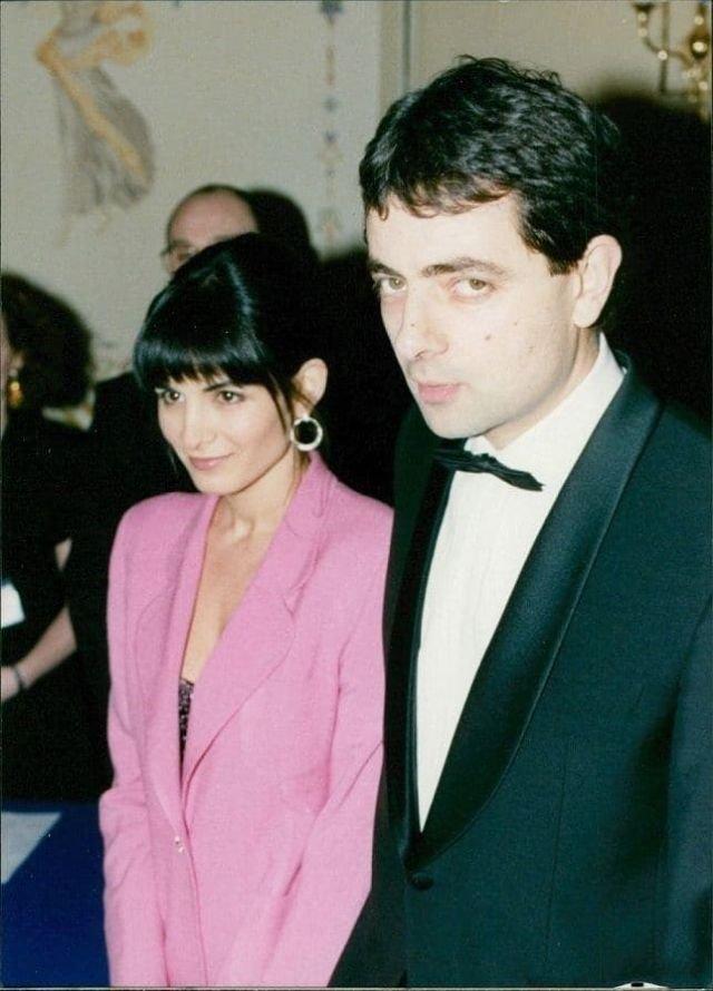 Роуэн Аткинсон с женой Санетрой, 1990-е.