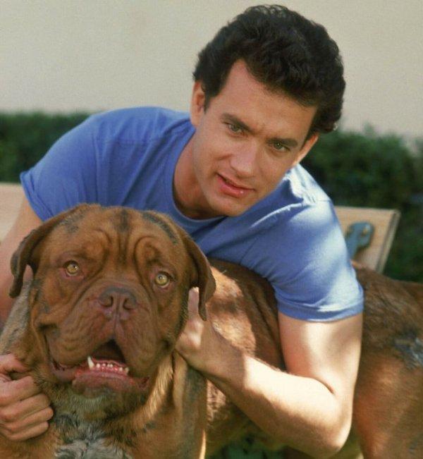 Том Хэнкс на съемках фильма «Тёрнер и Хуч». 1989 год