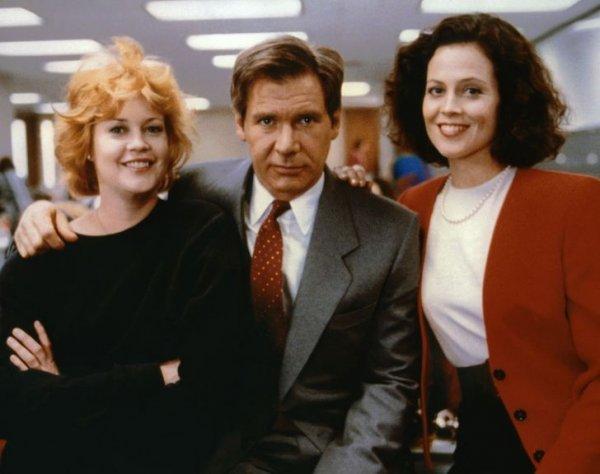 Мелани Гриффит, Харрисон Форд и Сигурни Уивер на съемках фильма «Деловая женщина». 1988 год
