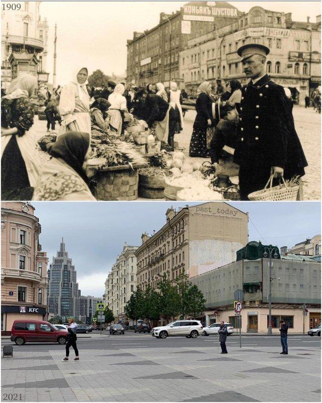 Москва. Триумфальная площадь. Рынок на старой Триумфальной площади, 1909 и 2021