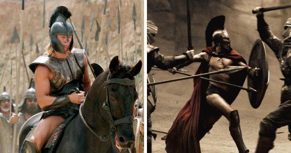 Мечи, копья и щиты из «Трои» появлялись в фильмах «300 спартанцев» и «Александр»