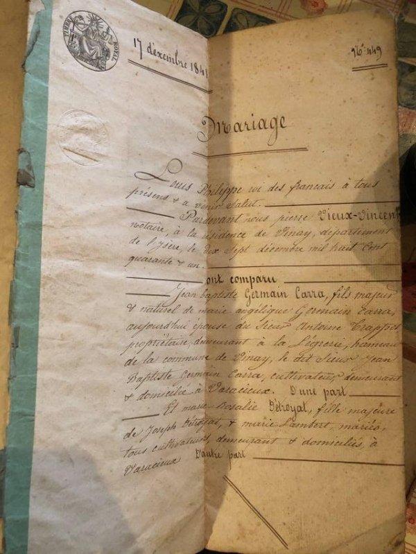 Я только что нашёл на своём чердаке свидетельство о браке 1841 года