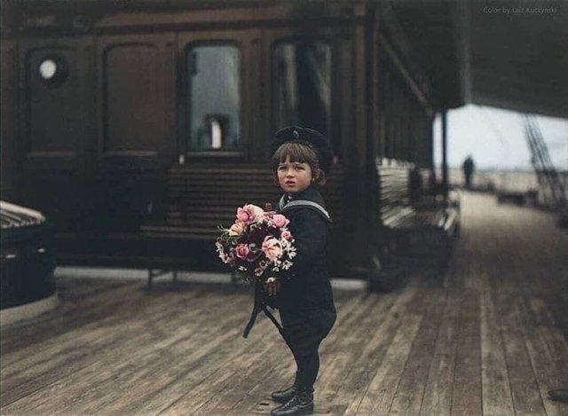 Сын Николая II, царевич Алексей Николаевич на борту Императорской яхты «Полярная звезда», 1907 год.