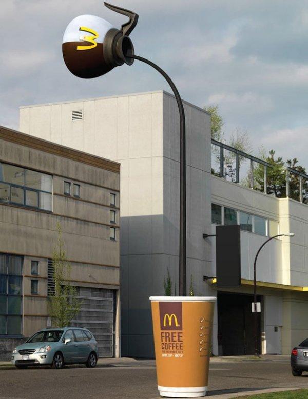 Реклама на фасадах кажется слишком банальной? Тогда привлекаем уличный фонарь