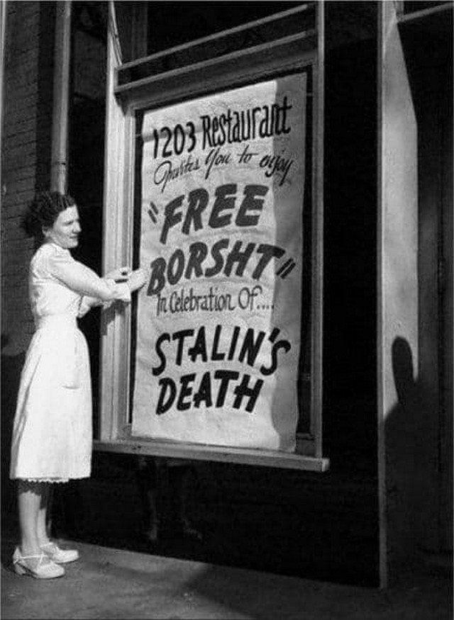 Бесплатный борщ от украинских эмигрантов по поводу смерти Сталина, США, 1953 год.