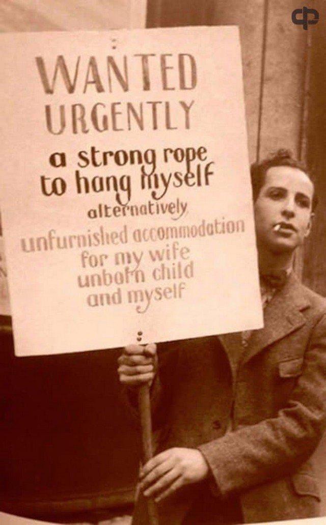 """""""Срочно требуется крепкая веревка, чтобы повеситься, либо жилье для моей жены, ребенка, которого мы ждем, и меня"""". Великая депрессия, США, 1932 год."""