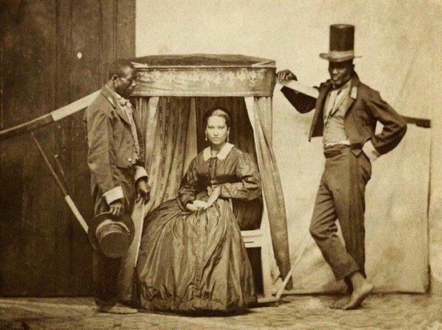 Госпожа и ее два покорных раба. Бразилия, 1860-е.
