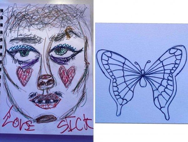 Мои рисунки до и после начала лечения СДВГ (синдром дефицита внимания и гиперактивности)