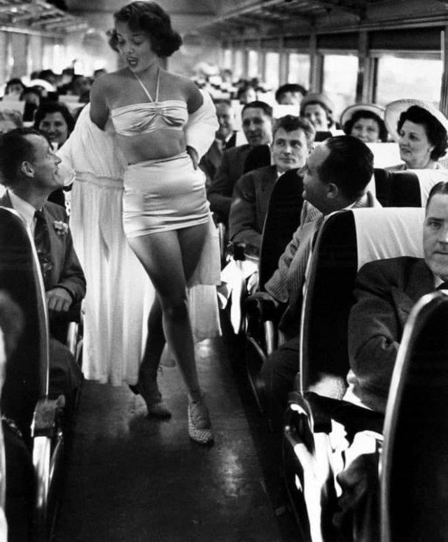 Показ мод на железной дороге. США, 1949 год.