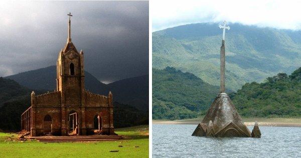 Церковь в Венесуэле то оказывается затоплена при наводнении, то снова появляется во время засухи