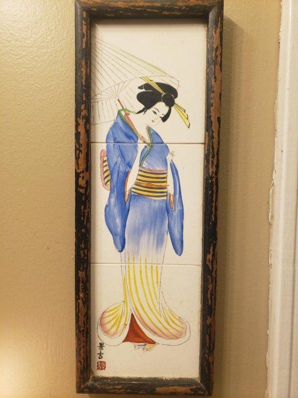 Нашёл на распродаже японскую картину, которой 70 лет
