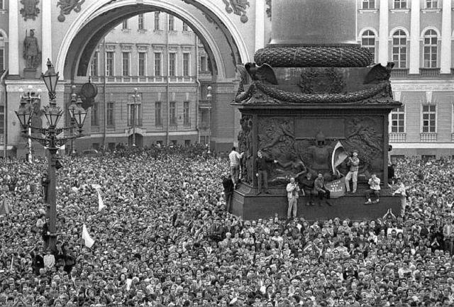 Ленинград. Митинг в защиту демократии, 1991 год.