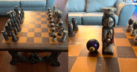 Моя семья получила в наследство эти шахматы. Бильярдный шар для сравнения