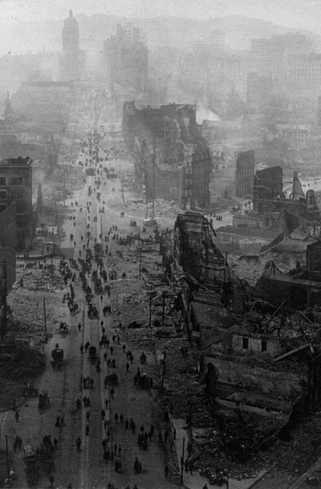 Сан-Франциско после землетрясения. США. Апрель 1906 год.