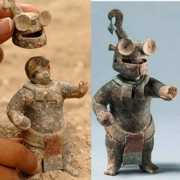 Керамическая фигурка майя со съёмным шлемом, созданная 1500 лет назад в Гватемале