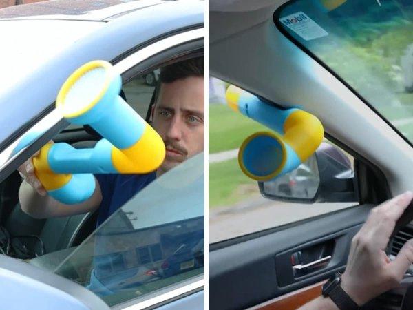Закрепляете такую трубку в окне автомобиля, и ветерок всегда будет дуть прямо на вас