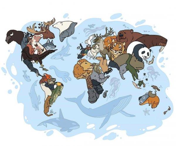Мировая карта животных