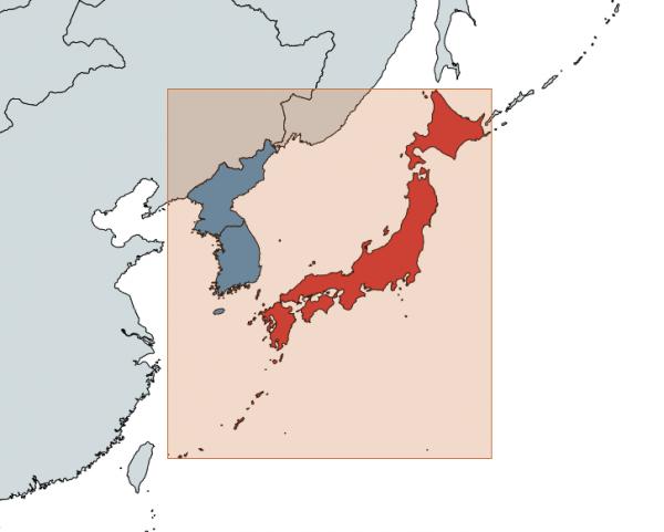 Япония располагается севернее, южнее, западнее и восточнее, чем Северная и Южная Кореи