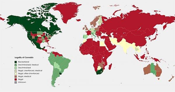 Законный статус каннабиса по всему миру (на 1 июля 2021 года)