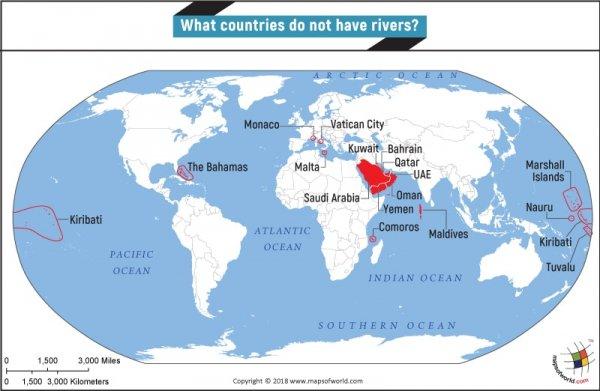 Страны, на территории которых нет рек
