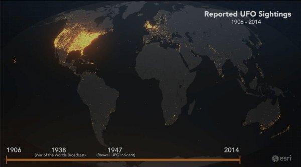Карта всех зарегистрированных случаев наблюдения НЛО с 1906 по 2014 годы