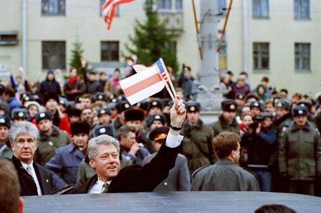 Американский президент Билл Клинтон в Минске, 15 января 1995 год