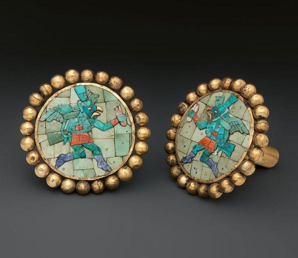 Золотые украшения для ушей. Культура моче, Перу, IV–VII вв.