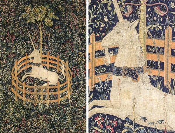 Этот гобелен «Единорог в неволе» XIV–XV вв.