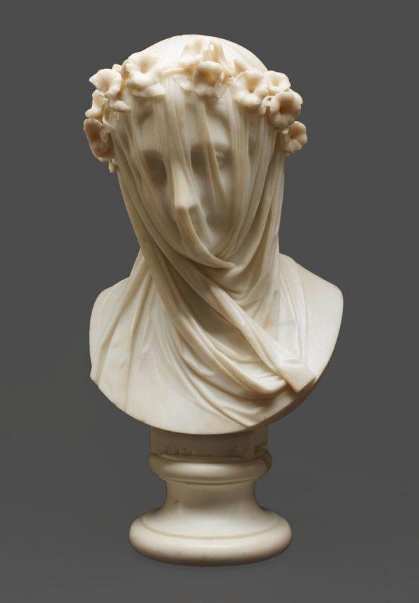 Мраморная скульптура девушки под вуалью. Рафаэль Монти, Италия, XIX в.