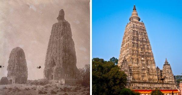 Буддийский храм Махабодхи, Индия: 1880-е годы и сейчас