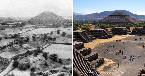 Древний город Теотиуакан, Мексика: 1905 год и сейчас