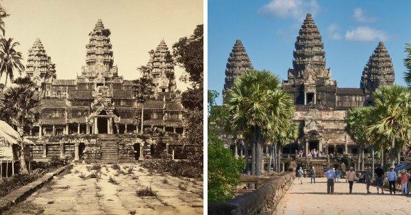 Ангкор-Ват, Камбоджа: 1866 год и сейчас