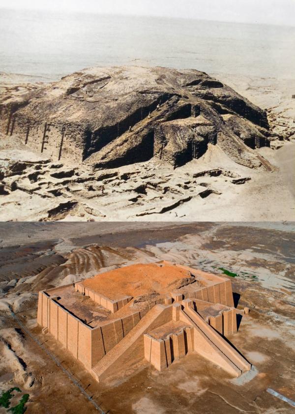 Великий зиккурат Ура, Ирак: 1920-е годы и сейчас