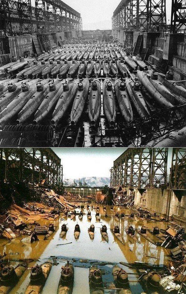 """Сверхмалые подводные лодки """"Корю"""" в сухом доке в Куре, Япония. До и после бомбардировки союзников."""