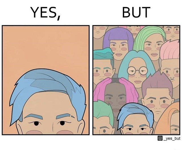 Покрасить волосы, чтобы стать частью другой толпы