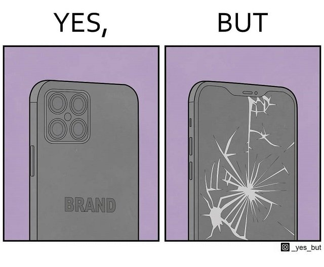 Телефон дорогого бренда, но с разломанным экраном