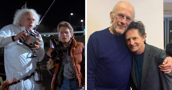 Кристофер Ллойд и Майкл Дж. Фокс (Док и Марти) из фильмов «Назад в будущее»