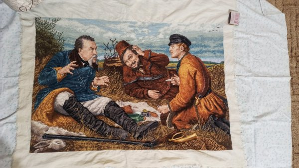 Хочу поделится своей вышивкой на репродукцию картины Перова «Охотники на привале»