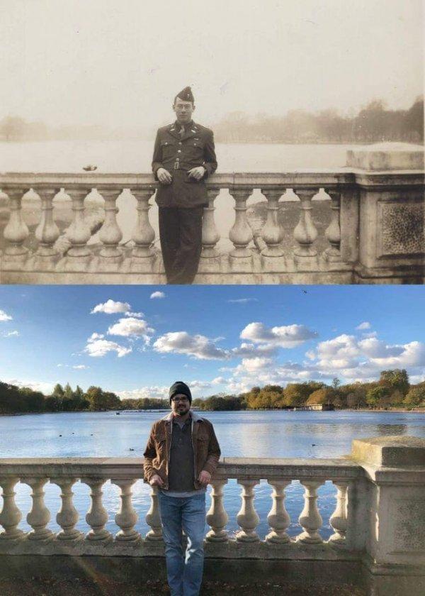 Внук стоит на том же месте, где стоял его дедушка во время Второй мировой войны