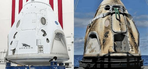 Космический корабль Crew Dragon Endeavour перед отправкой на МКС и после возвращения