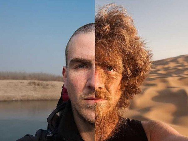 До и после годового путешествия пешком по Китаю